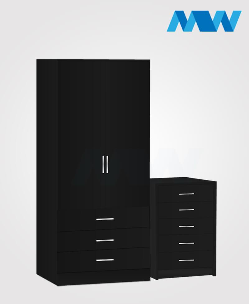 2d 3d 2 piece set black
