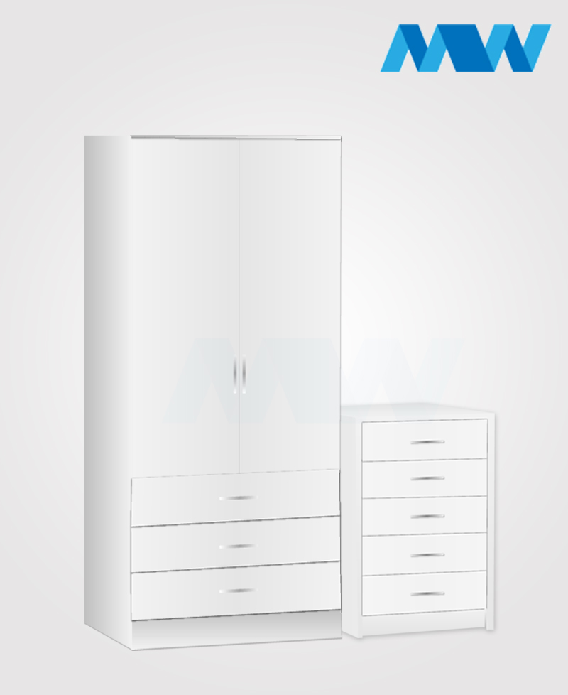 Home 2 Piece 2 Door Wardrobe Set With 3 Drawer white