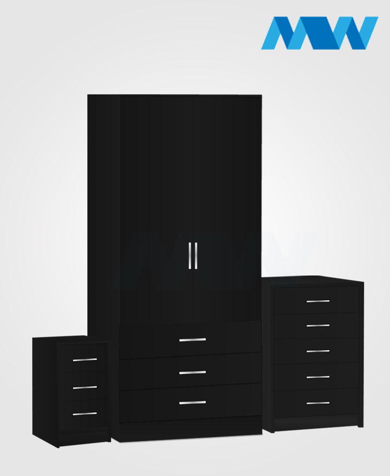 Home 3 Piece 2 Door Wardrobe Set With 3 Drawer black