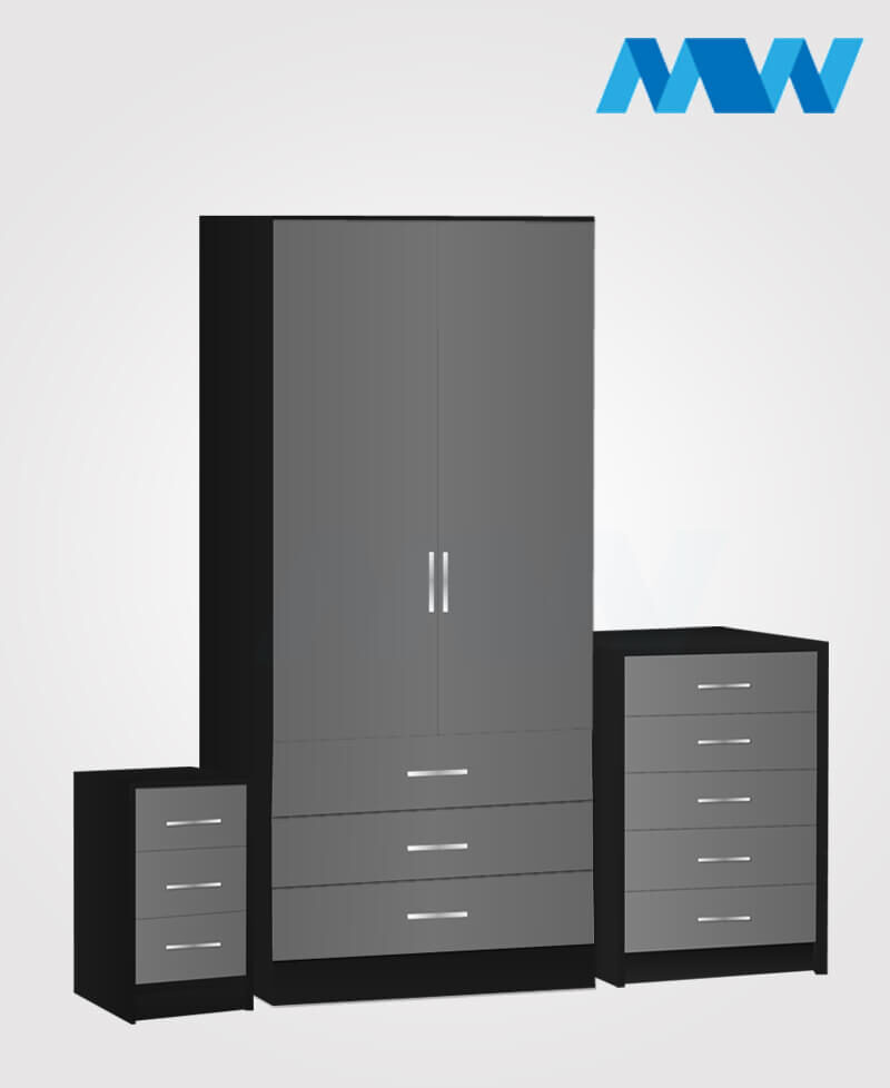 Home 3 Piece 2 Door Wardrobe Set With 3 Drawer grey and black