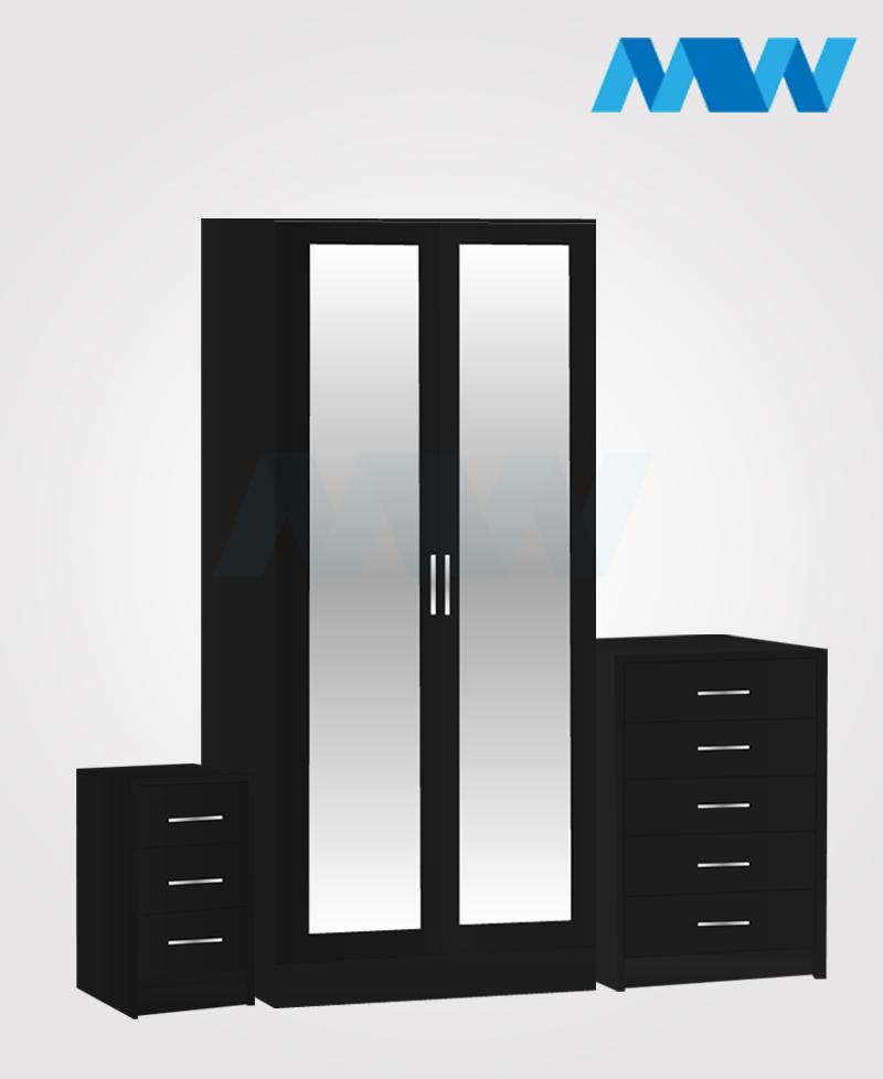 Home 3 Piece 2 Door Wardrobe Set With 2 Mirrors black
