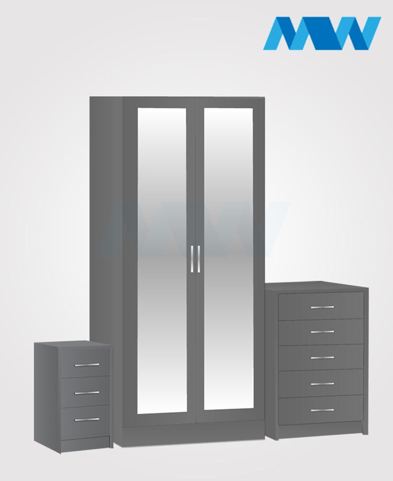 Home 3 Piece 2 Door Wardrobe Set With 2 Mirrors grey