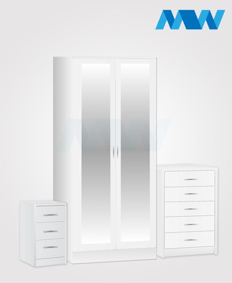 Home 3 Piece 2 Door Wardrobe Set With 2 Mirrors grey white