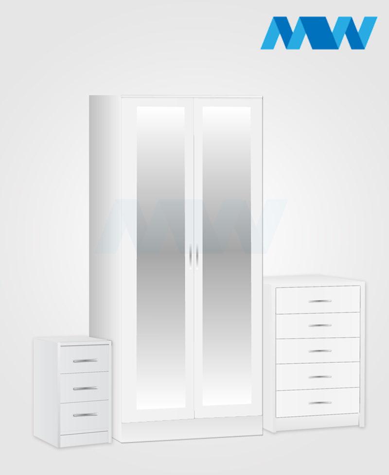 Home 3 Piece 2 Door Mirrored Wardrobe Set white