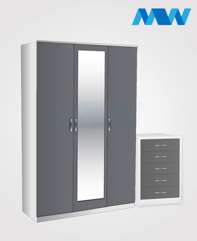 Bedroom 2 piece 3 Door Wardrobe Set with 1 mirror grey and white