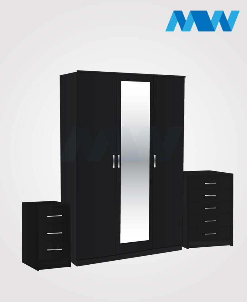 Bedroom 3 piece 3 Door Wardrobe Set with 1 mirror black