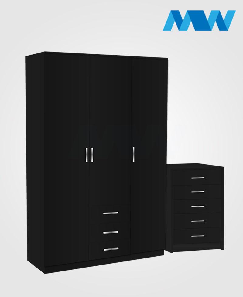 Bedroom 2 Piece 3 Door Wardrobe Set With 3 Drawers black