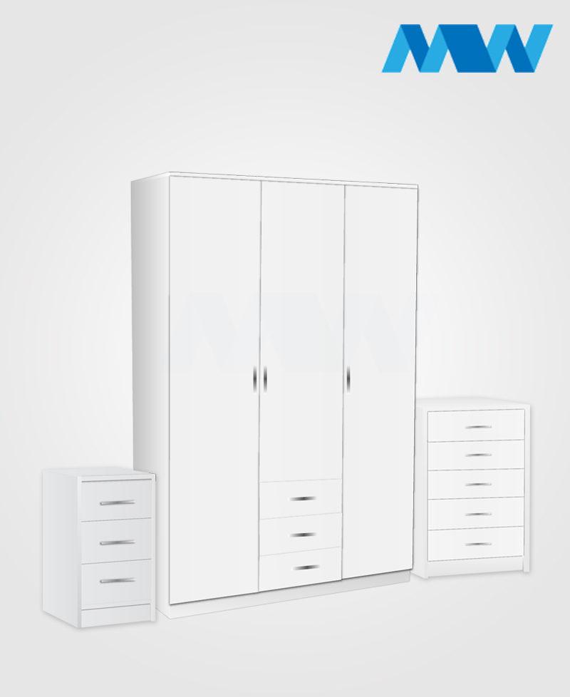 Bedroom 3 Piece 3 Door Wardrobe Set With 3 Drawers white