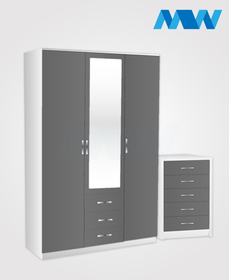 Bedroom 2 Piece 3 Door Combi Wardrobe Set With Mirror And Drawer grey and white