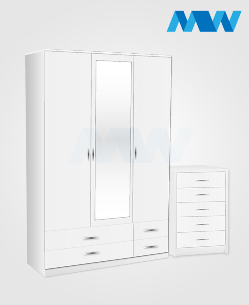 Bedroom 2 Piece 3 Door Wardrobe With 1 Mirrors & 4 Drawers white
