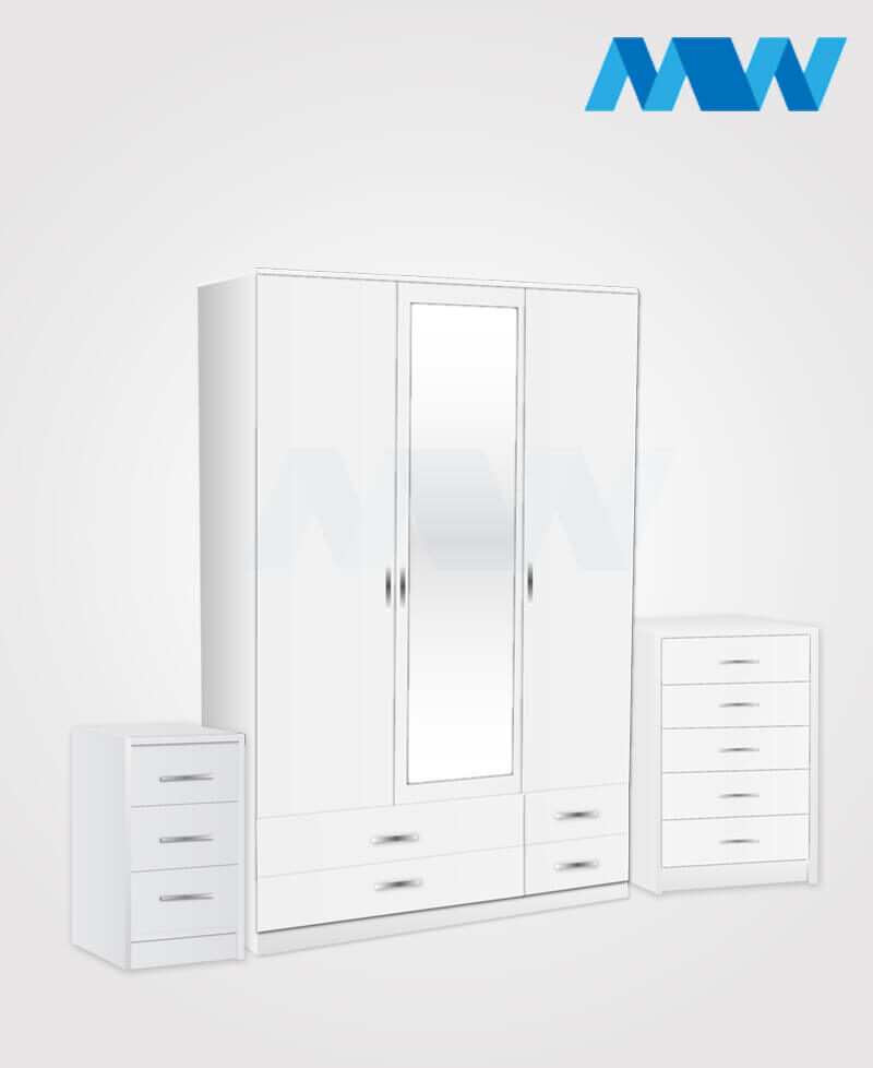 Bedroom 3 Piece 3 Door Wardrobe With 1 Mirrors & 4 Drawers white