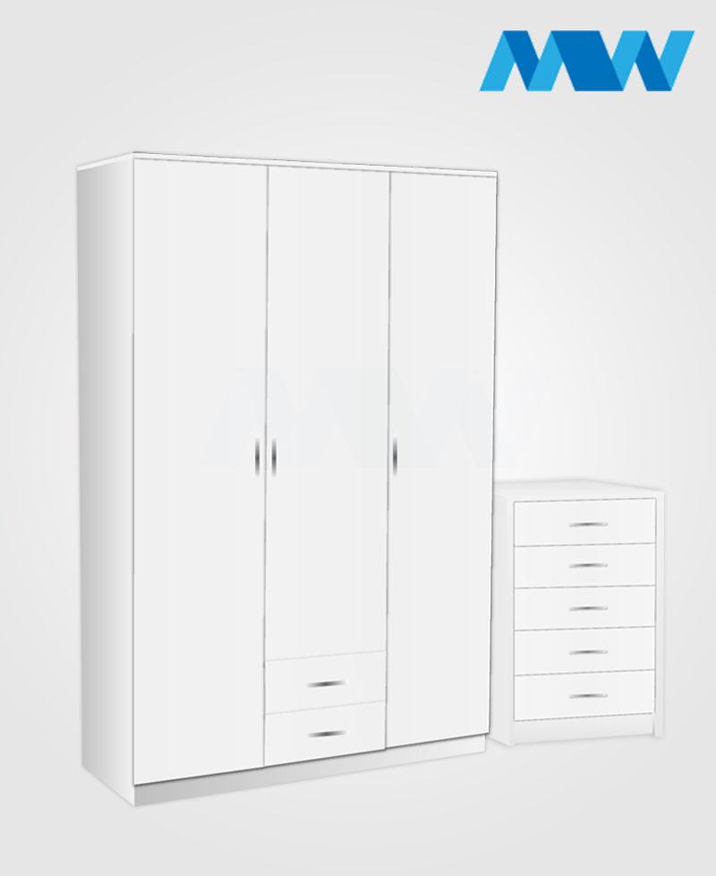 Bedroom 2 Piece 3 Door Wardrobe Set With 2 Drawers white