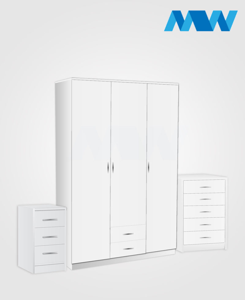 Bedroom 3 Piece 3 Door Wardrobe Set With 2 Drawers white