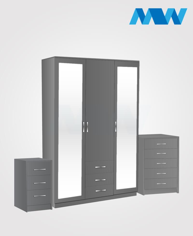 Bedroom 3 Piece 3 Door Mirrored Wardrobe Set With 2 Drawers grey