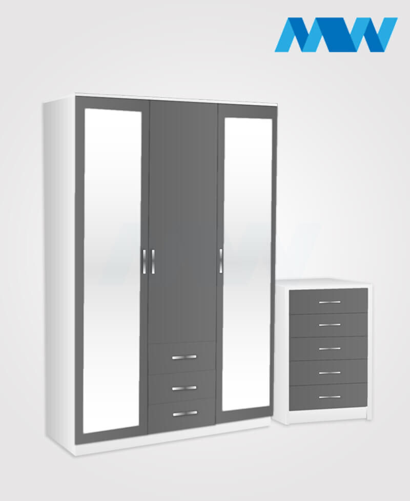 Bedroom 2 Piece 3 Door Wardrobe Set With 2 Mirrors and 3 Drawers grey and white