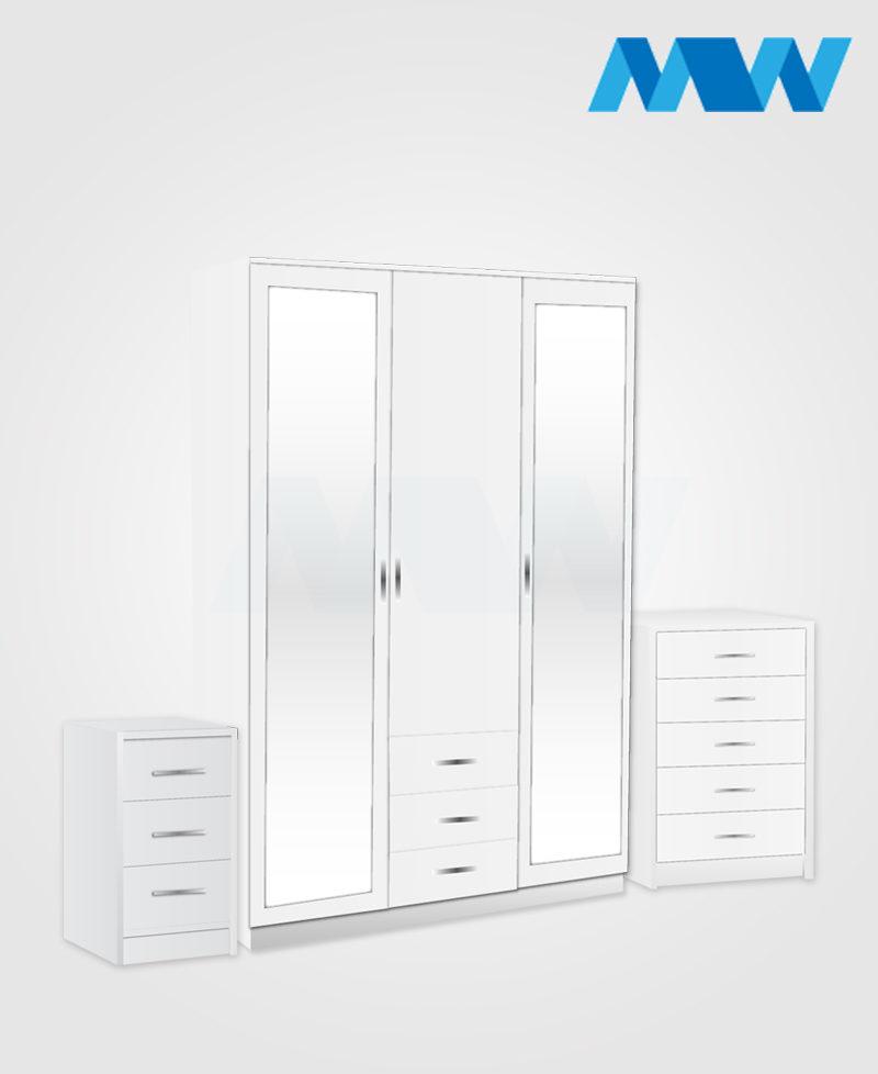 Bedroom 3 Piece 3 Door Mirrored Wardrobe Set With 2 Drawers white