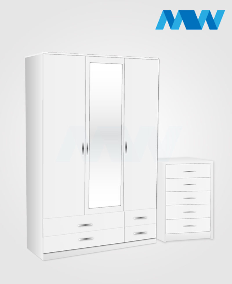Bedroom 2 Piece 3 Door Wardrobe With 2 Mirrors & 4 Drawers white