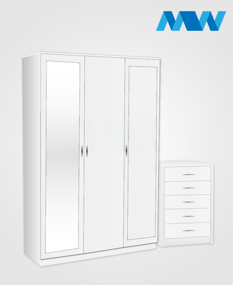 Bedroom 2 Piece 3 Door Wardrobe Set With 2 Mirrors white