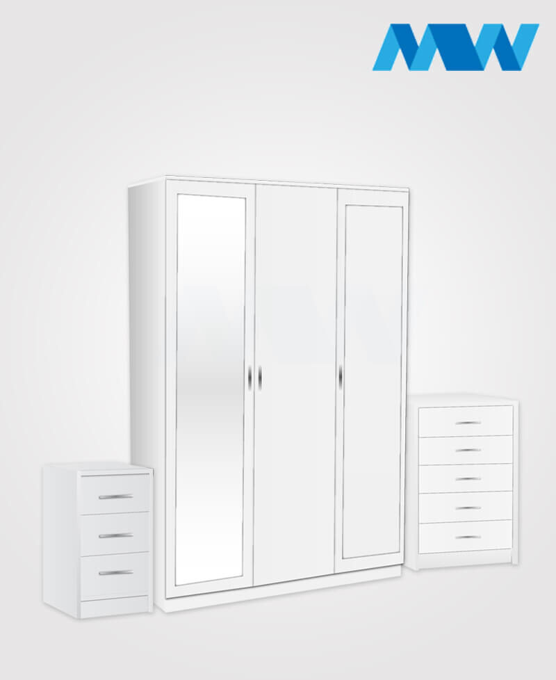 Bedroom 3 Piece 3 Door Wardrobe Set With 2 Mirrors white