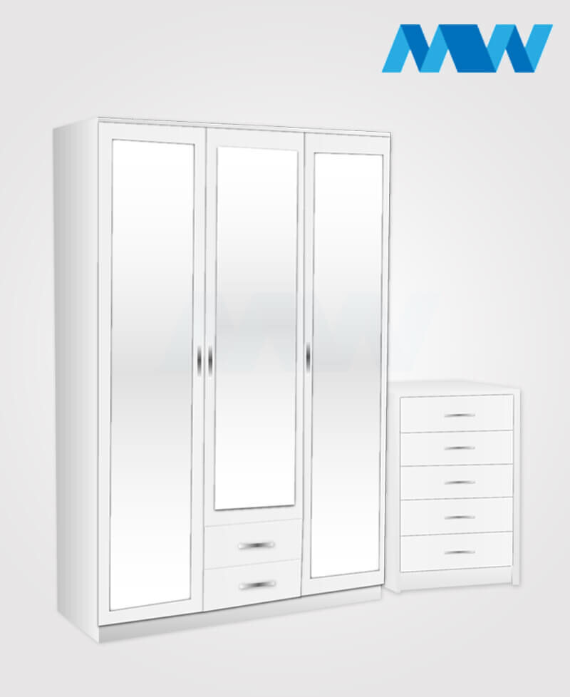 Bedroom 2 Piece 3 Door Wardrobe With 3 Mirrors and 2 Drawers white
