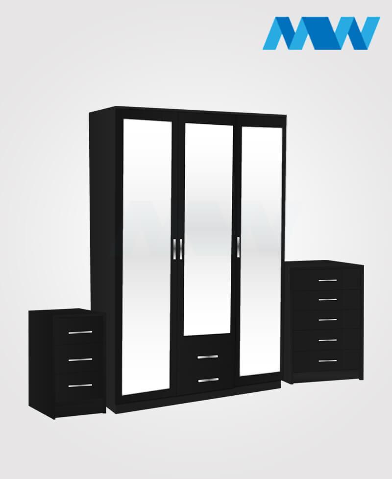 Bedroom 3 Piece 3 Door Wardrobe With 3 Mirrors and 2 Drawers black