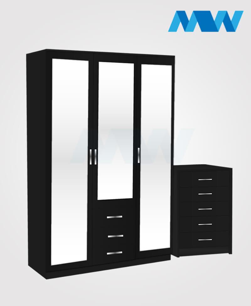 Bedroom 2 Piece 3 Door Wardrobe With 3 Mirrors and 3 Drawers black
