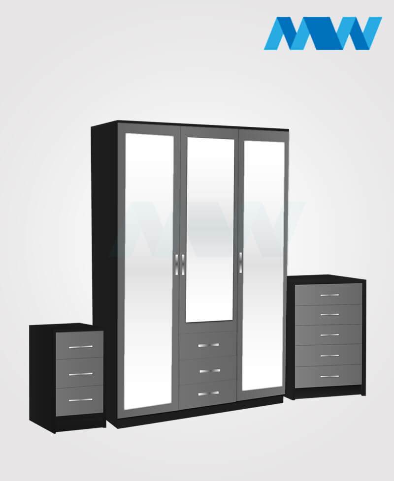 Bedroom 3 Piece 3 Door Wardrobe With 3 Mirrors and 3 Drawers black and grey