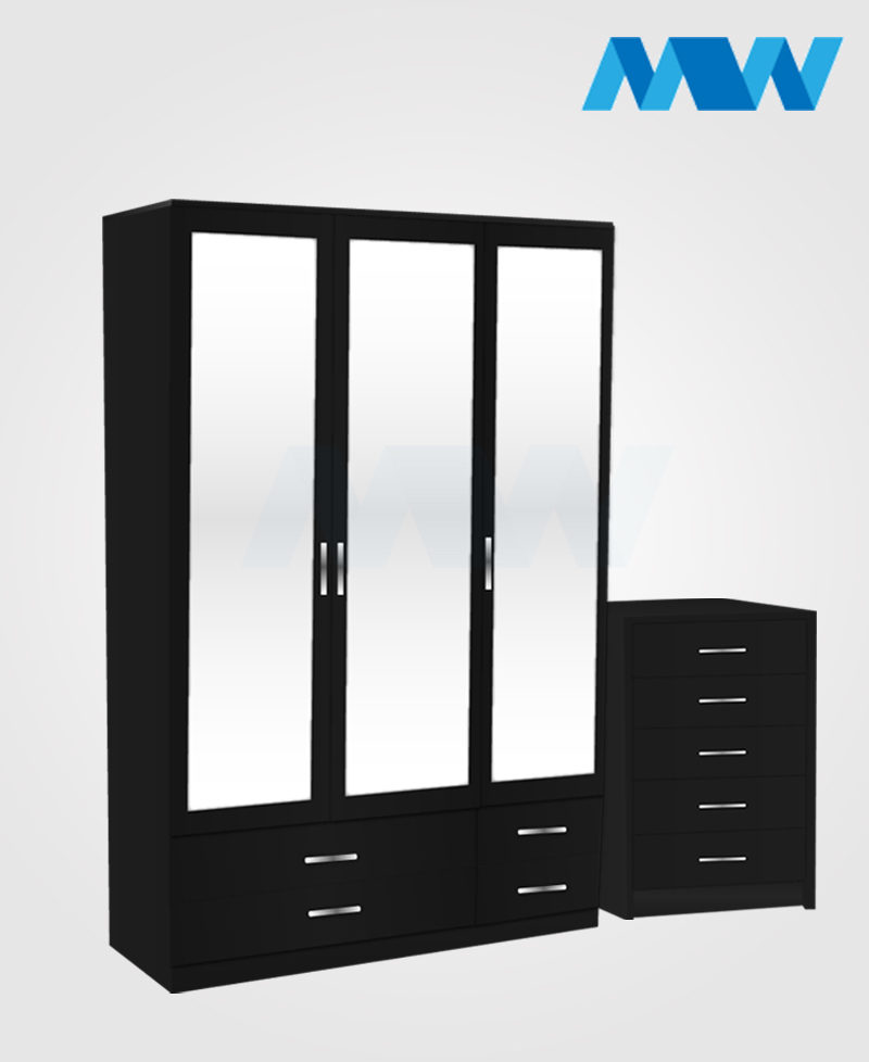 Bedroom 2 Piece 3 Door Wardrobe With 3 Mirrors & 4 Drawers black