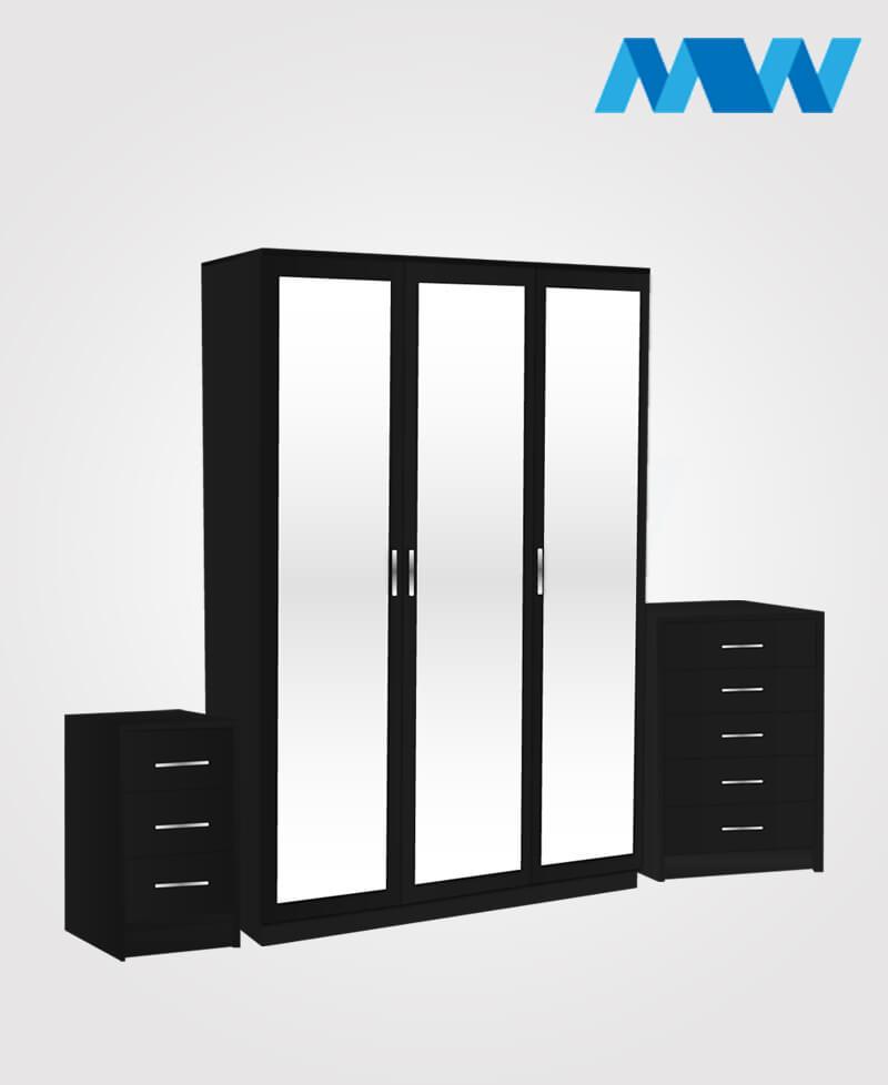 Bedroom 3 Piece 3 Door Mirrored Wardrobe Set black