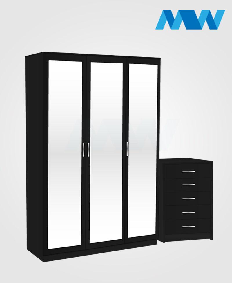 Bedroom 2 Piece 3 Door Mirrored Wardrobe Set black