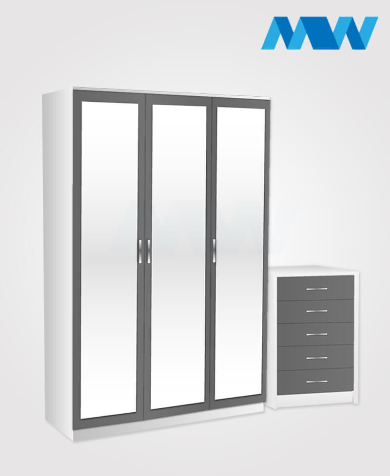Bedroom 2 Piece 3 Door Mirrored Wardrobe Set grey and white