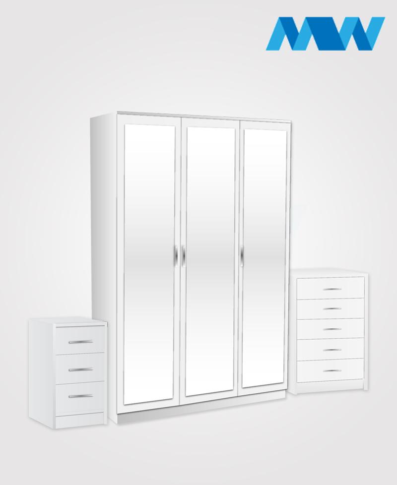 Bedroom 3 Piece 3 Door Mirrored Wardrobe Set white