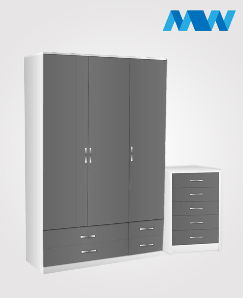 Bedroom 2 Piece 3 Door Gloss Wardrobe With 4 Drawers grey and white