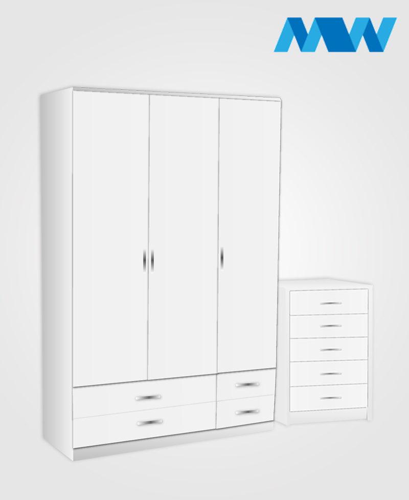 Bedroom 2 Piece 3 Door Gloss Wardrobe With 4 Drawers white