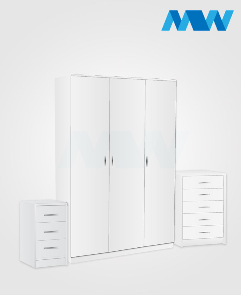 Bedroom 3 Piece 3 Door Wardrobe Set With Mirror And 3 Drawers white
