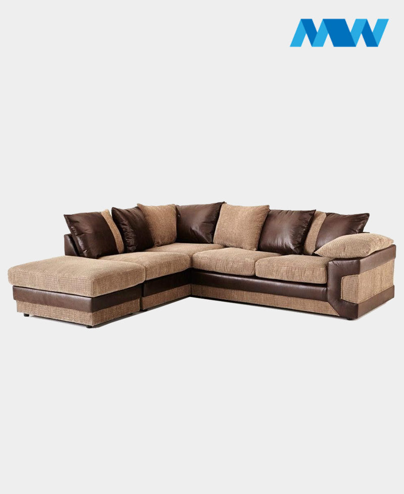 Horizon Corner Sofa brown and oak left corner