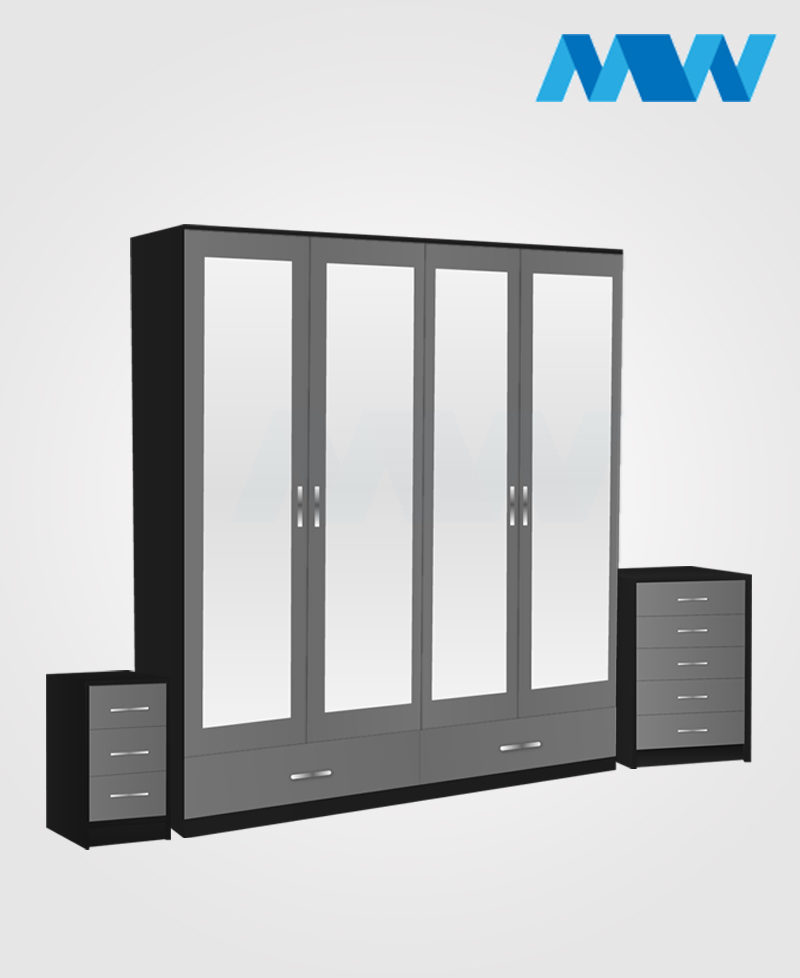Aurora 3 Piece 4 Door Wardrobe Set With 4 Mirrors and 2 Drawers grey and black