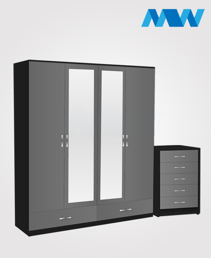 Aurora 2 Piece 4 Door Wardrobe Set With 2 Mirrors and 2 Drawers grey and black