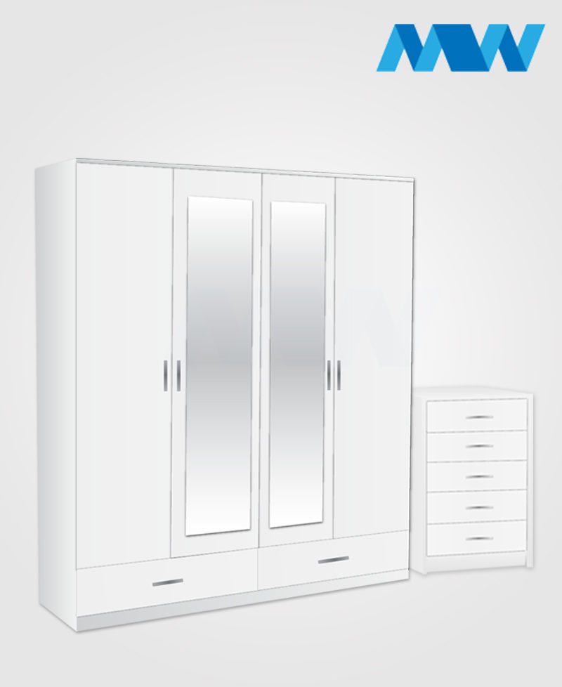 Aurora 2 Piece 4 Door Wardrobe Set With 2 Mirrors and 2 Drawers white