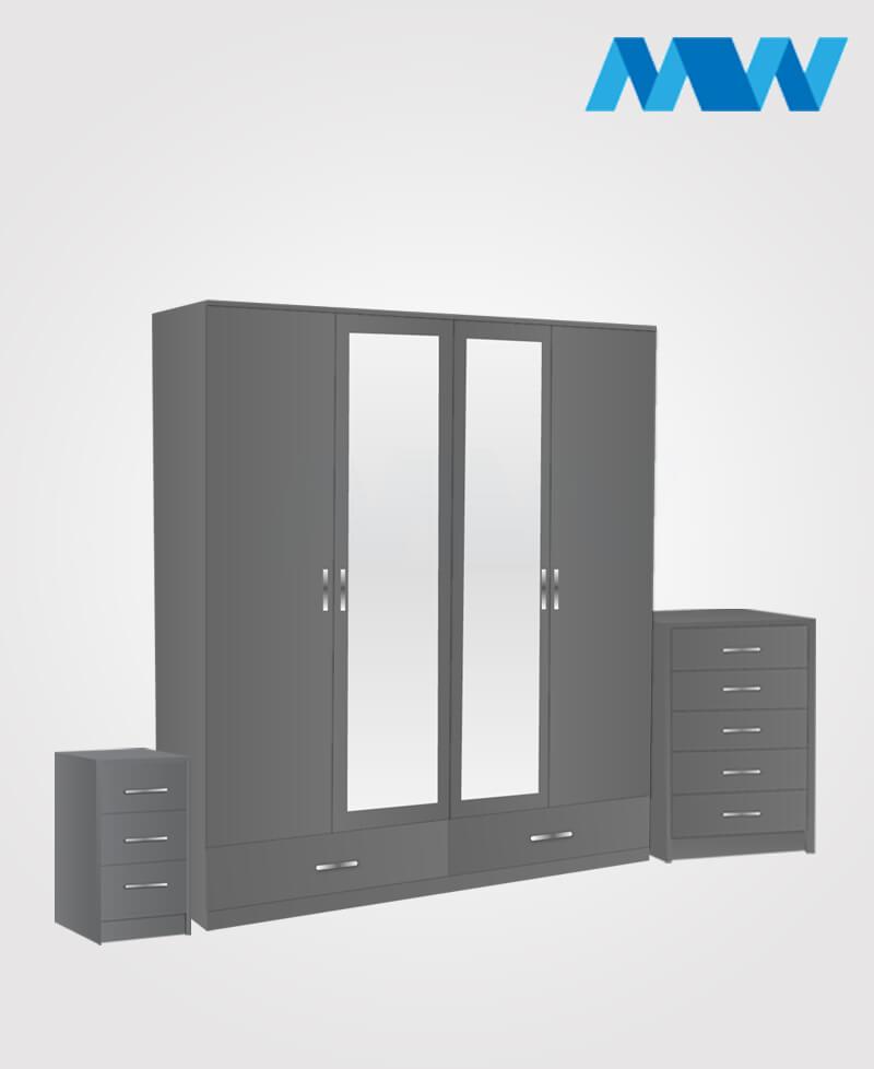 Aurora 3 Piece 4 Door Wardrobe Set With 2 Mirrors and 2 Drawers grey