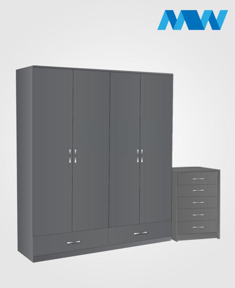 Aurora 2 Piece 4 Door Wardrobe Set With 2 Drawers grey