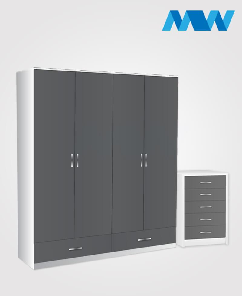 Aurora 2 Piece 4 Door Wardrobe Set With 2 Drawers grey and white