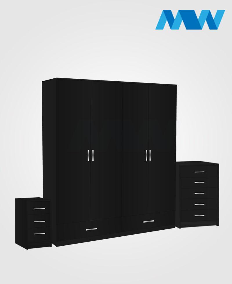 Aurora 3 Piece 4 Door Wardrobe Set With 2 Drawers black