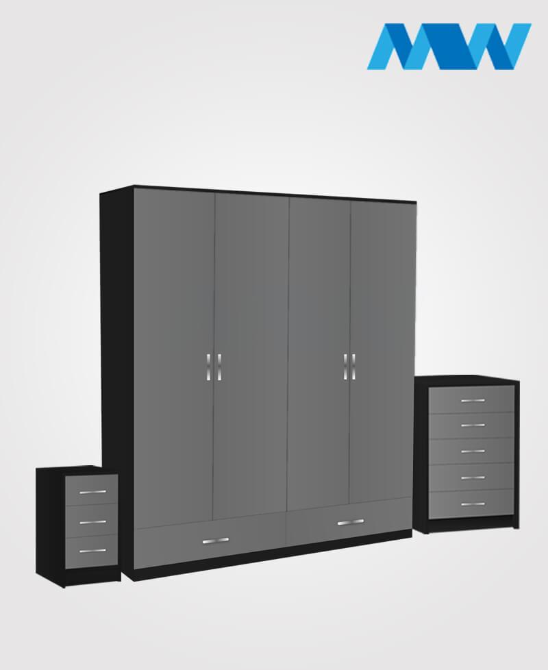 Aurora 3 Piece 4 Door Wardrobe Set With 2 Drawers black and grey