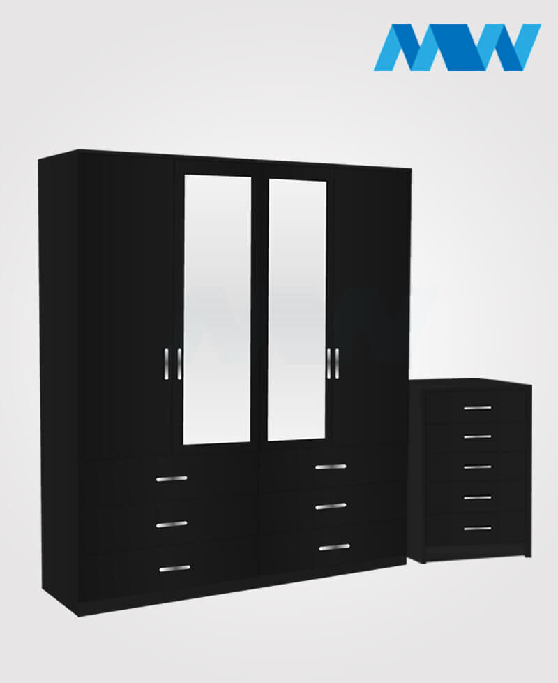 Aurora 2 Piece 4 Door Wardrobe Set With 2 Mirrors and 6 Drawers black