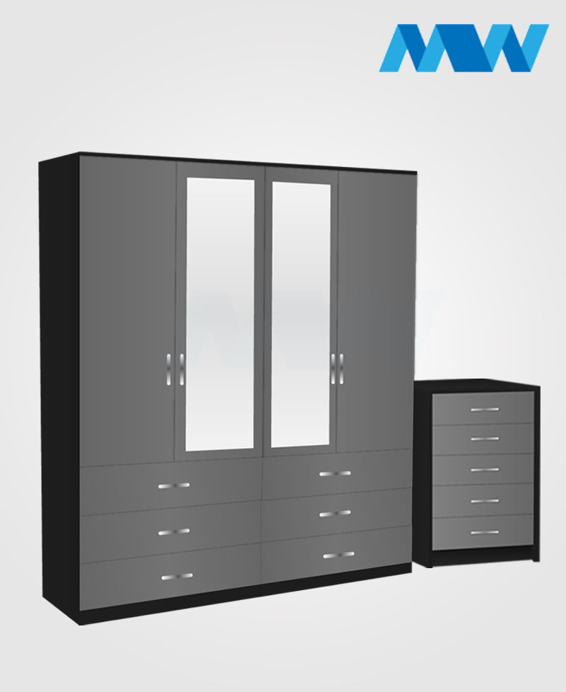 Aurora 2 Piece 4 Door Wardrobe Set With 2 Mirrors and 6 Drawers grey and black