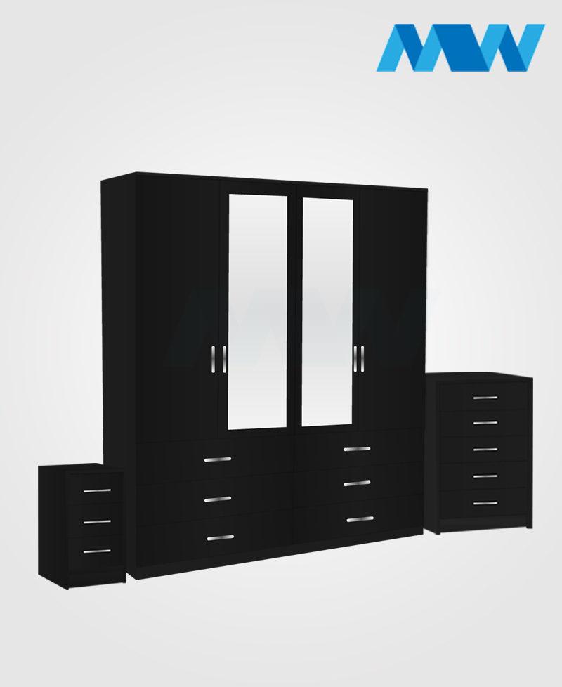 Aurora 3 Piece 4 Door Wardrobe Set With 2 Mirrors and 6 Drawers black