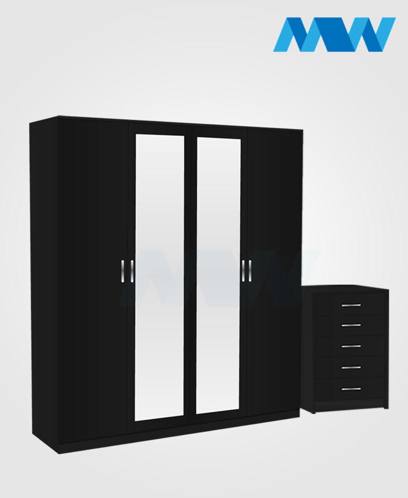 Aurora 3 Piece 4 Door Wardrobe Set With 2 Mirrors black
