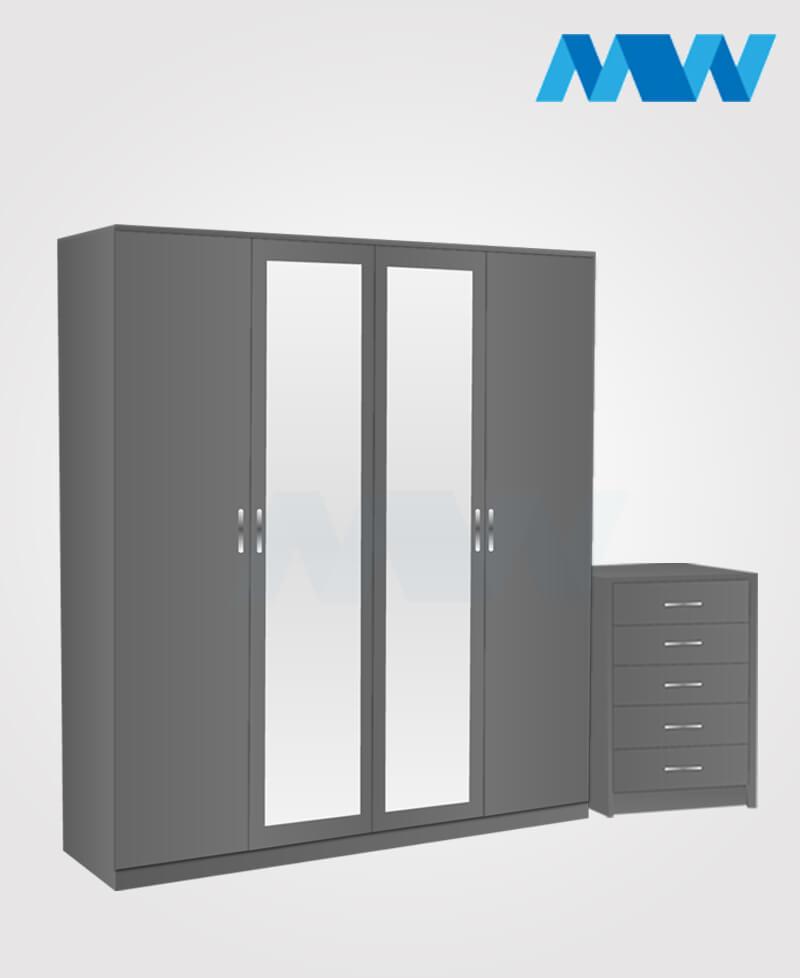 Aurora 3 Piece 4 Door Wardrobe Set With 2 Mirrors grey