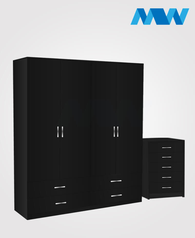 Aurora 2 Piece 4 Door Wardrobe Set With 4 Drawers black